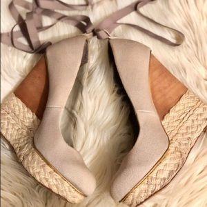 BCBG Natural Beige Ballerina Wedges